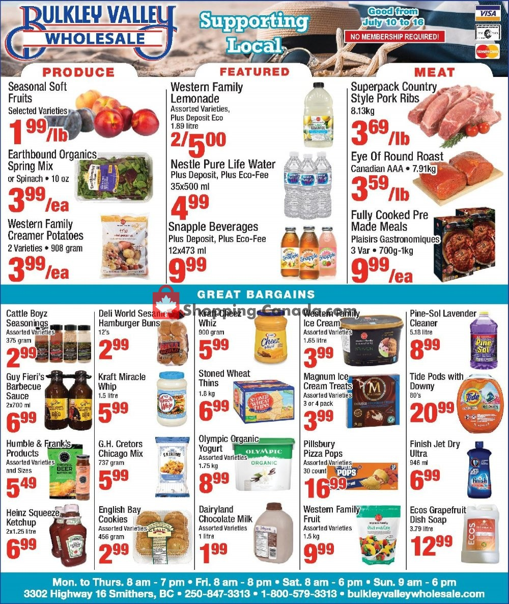 Flyer Bulkley Valley Wholesale Canada - from Wednesday July 10, 2019 to Tuesday July 16, 2019