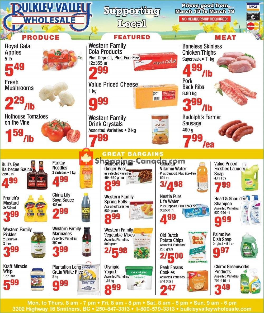 Flyer Bulkley Valley Wholesale Canada - from Wednesday March 13, 2019 to Tuesday March 19, 2019