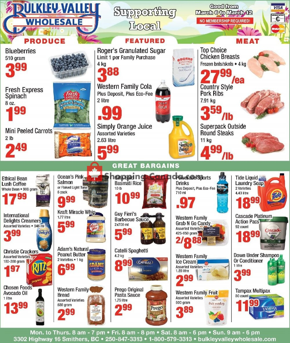 Flyer Bulkley Valley Wholesale Canada - from Wednesday March 6, 2019 to Tuesday March 12, 2019