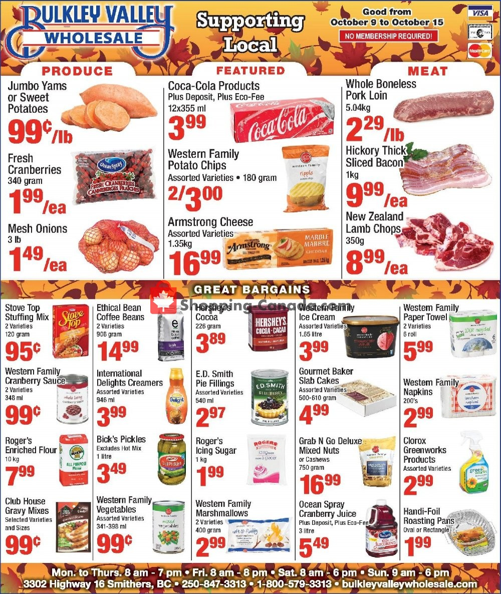 Flyer Bulkley Valley Wholesale Canada - from Wednesday October 9, 2019 to Tuesday October 15, 2019