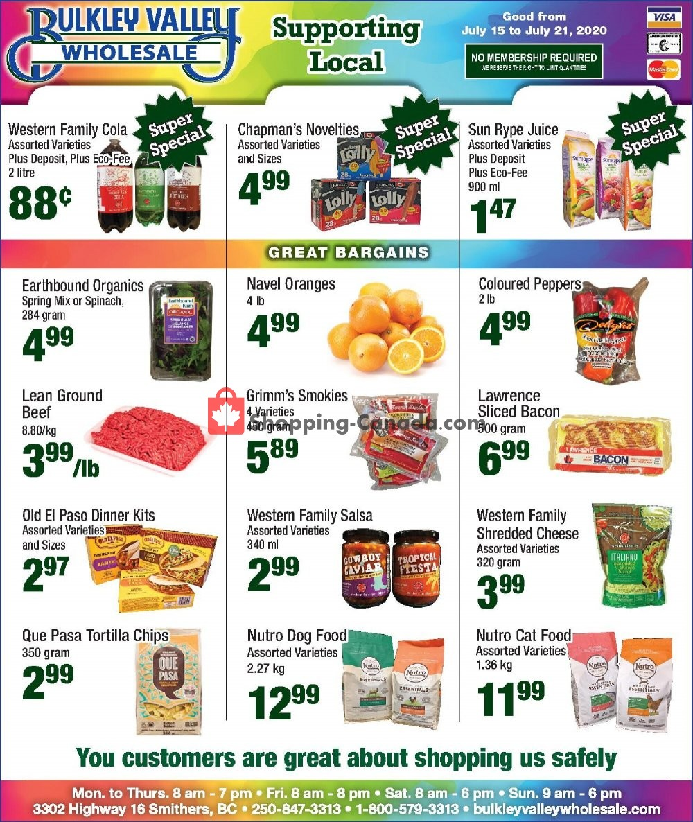 Flyer Bulkley Valley Wholesale Canada - from Wednesday July 15, 2020 to Tuesday July 21, 2020