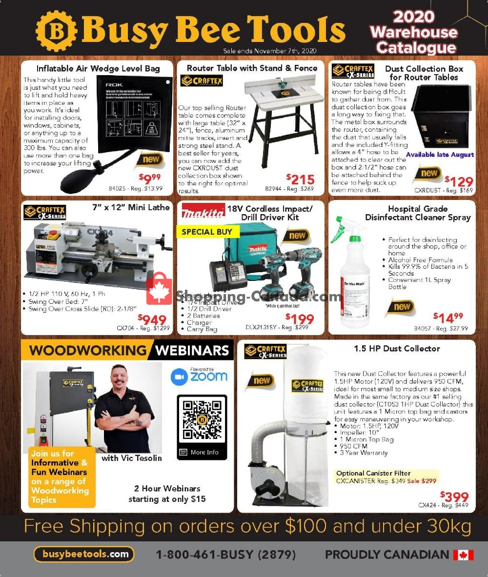 Flyer Busy Bee Tools Canada - from Saturday August 8, 2020 to Saturday November 7, 2020
