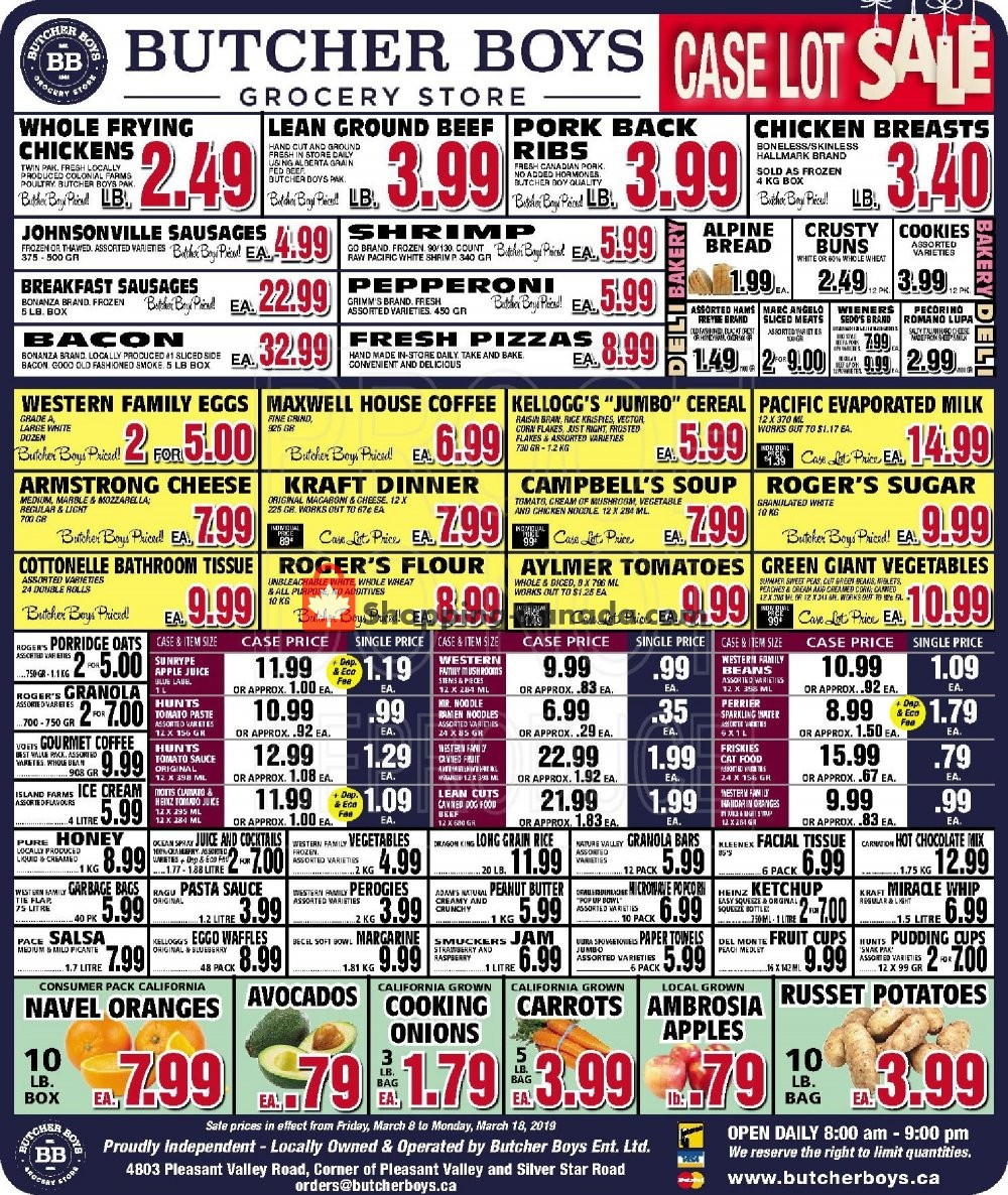Flyer Butcher Boys Canada - from Friday March 8, 2019 to Monday March 18, 2019