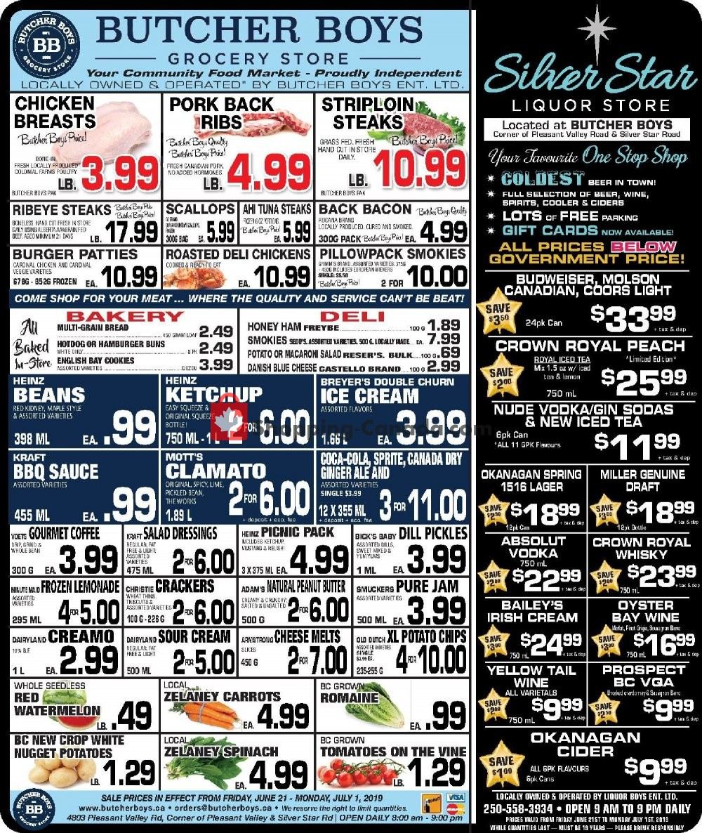 Flyer Butcher Boys Canada - from Friday June 21, 2019 to Monday July 1, 2019