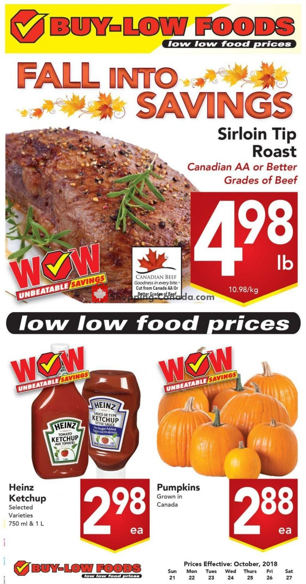Flyer Buy-Low Foods Canada - from Sunday October 21, 2018 to Saturday October 27, 2018