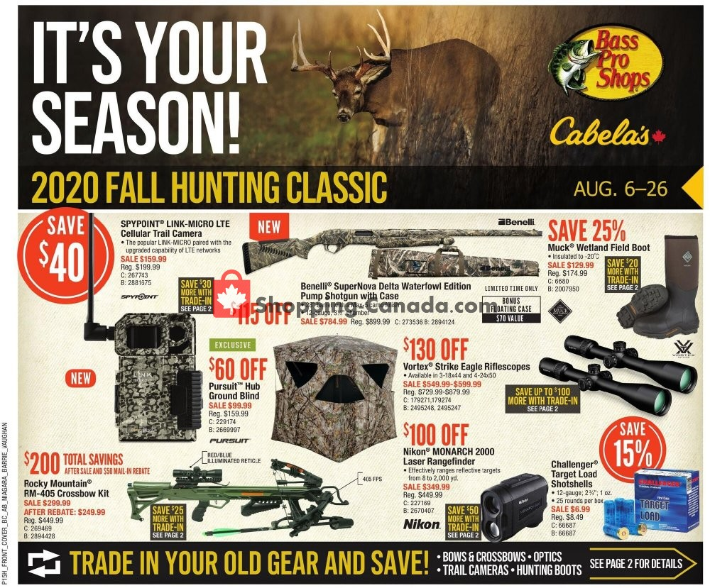 Flyer Cabela's Canada - from Thursday August 6, 2020 to Wednesday August 26, 2020