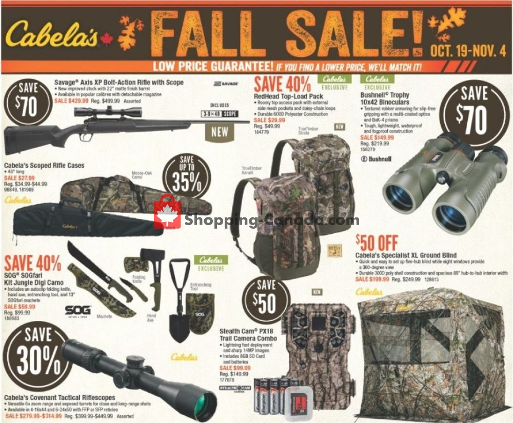 Flyer Cabela's Canada - from Friday October 19, 2018 to Sunday November 4, 2018