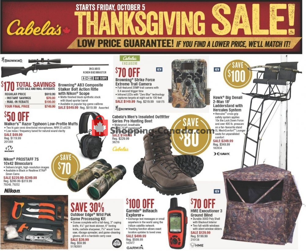 Flyer Cabela's Canada - from Friday October 5, 2018 to Sunday October 21, 2018