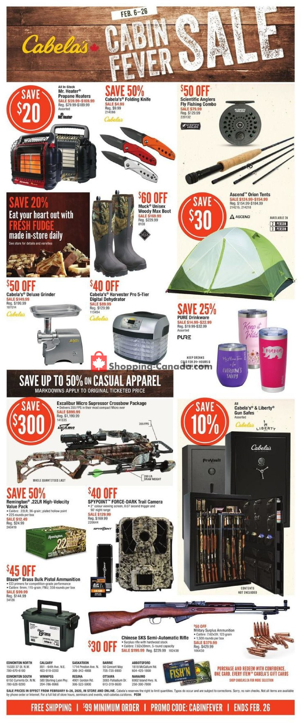 Flyer Cabela's Canada - from Thursday February 6, 2020 to Wednesday February 26, 2020