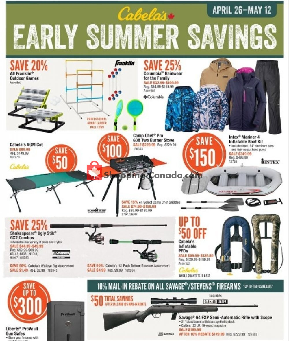 Flyer Cabela's Canada - from Friday April 26, 2019 to Sunday May 12, 2019