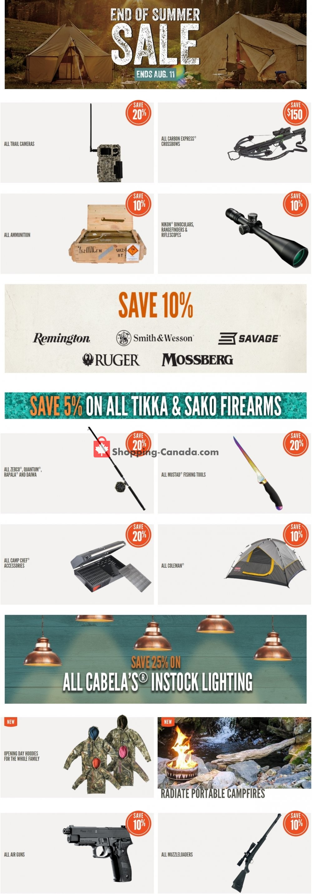 Flyer Cabela's Canada - from Monday August 5, 2019 to Sunday August 11, 2019