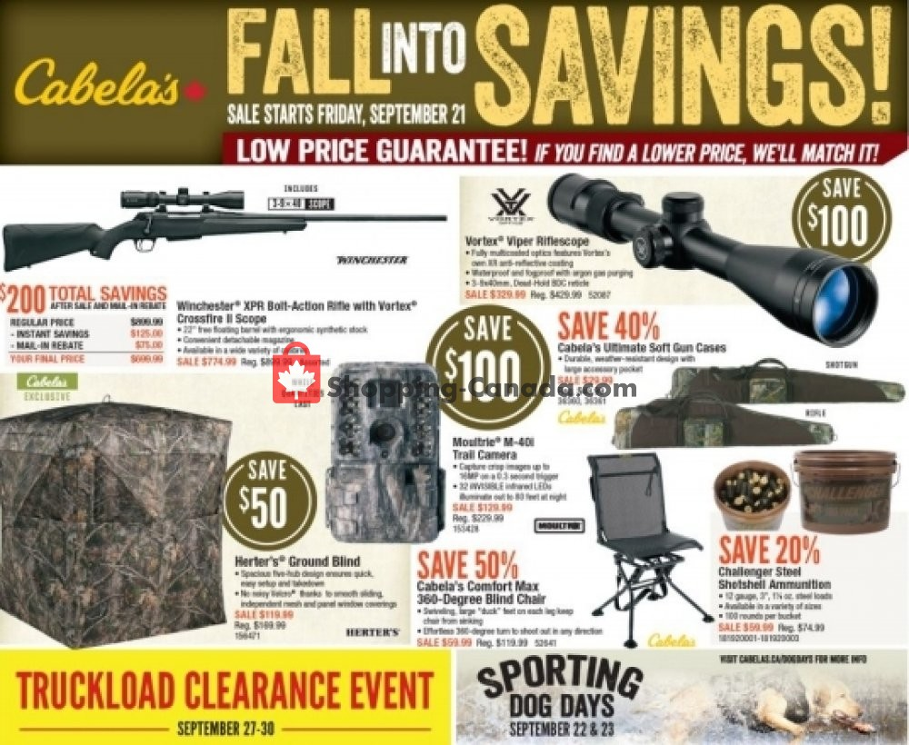 Flyer Cabela's Canada - from Friday September 21, 2018 to Sunday October 7, 2018