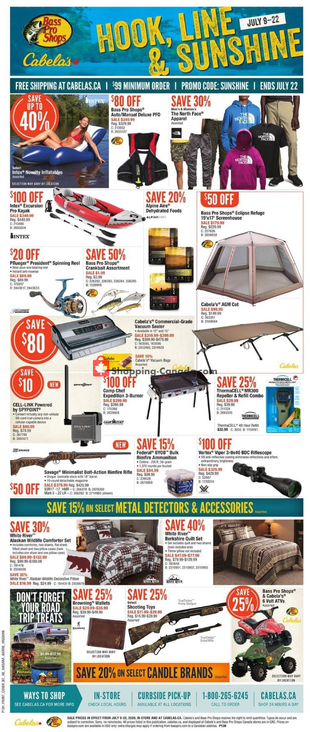Flyer Cabela's Canada - from Thursday July 9, 2020 to Wednesday July 22, 2020