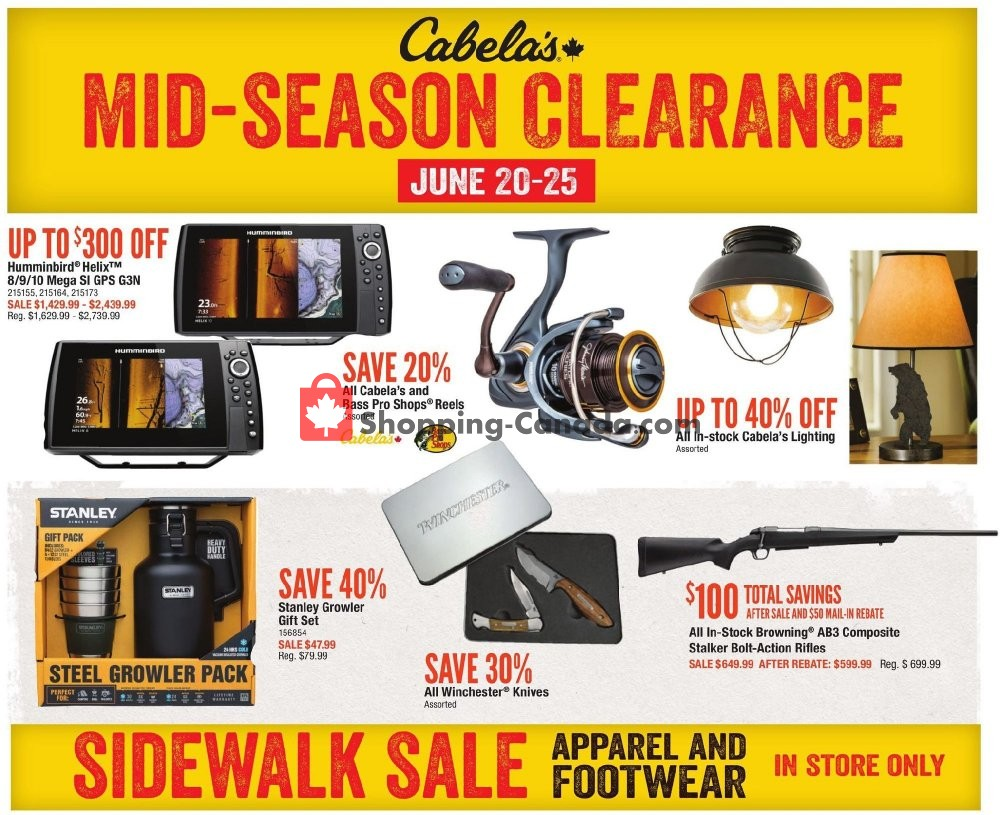 Flyer Cabela's Canada - from Friday June 14, 2019 to Thursday July 4, 2019