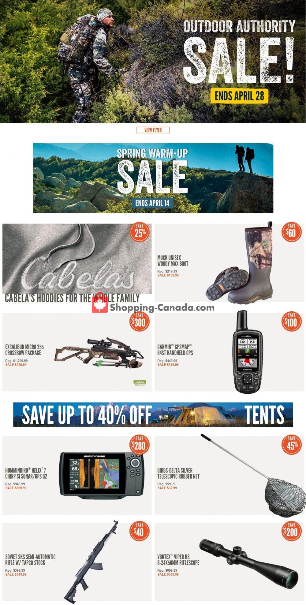 Flyer Cabela's Canada - from Friday April 12, 2019 to Thursday April 18, 2019