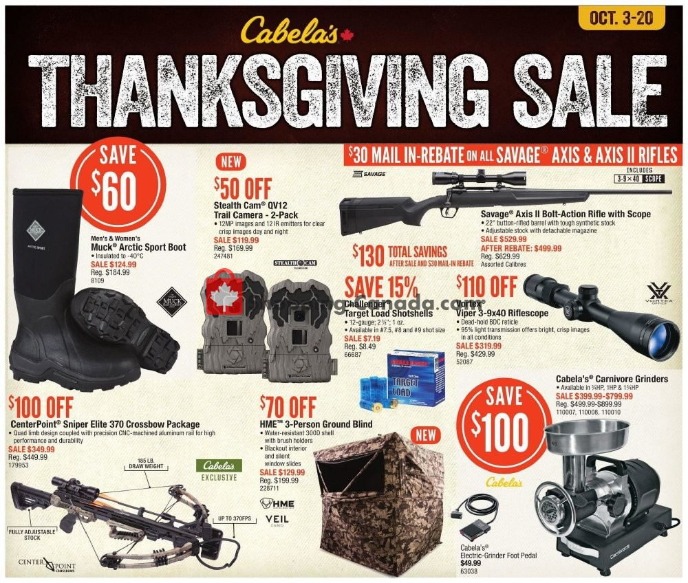 Flyer Cabela's Canada - from Thursday October 3, 2019 to Sunday October 20, 2019