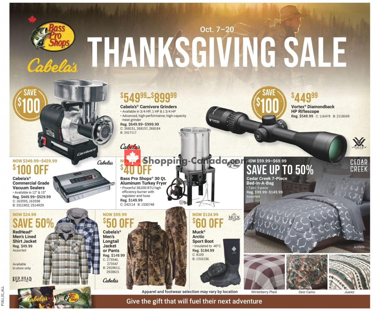 Flyer Cabela's Canada - from Thursday October 7, 2021 to Wednesday October 20, 2021