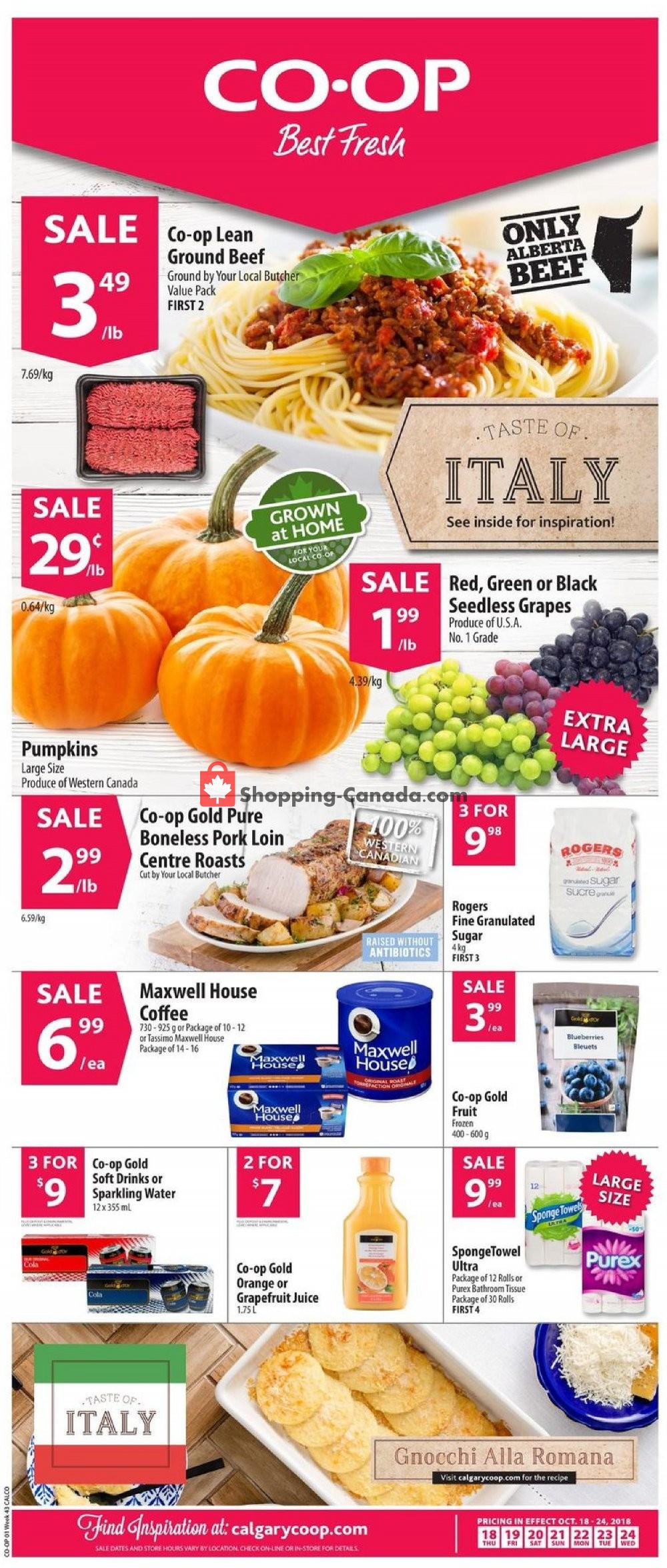 Flyer Calgary Co-op Canada - from Thursday October 18, 2018 to Wednesday October 24, 2018