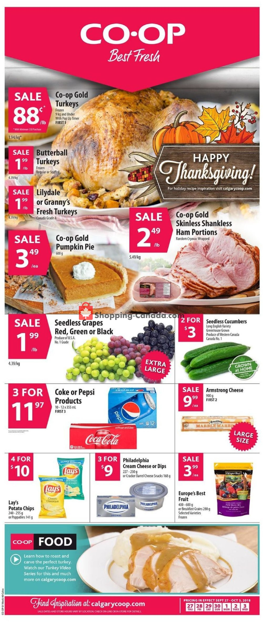 Flyer Calgary Co-op Canada - from Thursday September 27, 2018 to Wednesday October 3, 2018