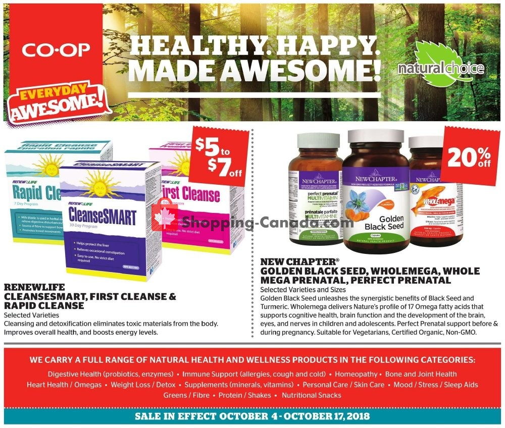 Flyer Calgary Co-op Canada - from Thursday October 4, 2018 to Wednesday October 17, 2018