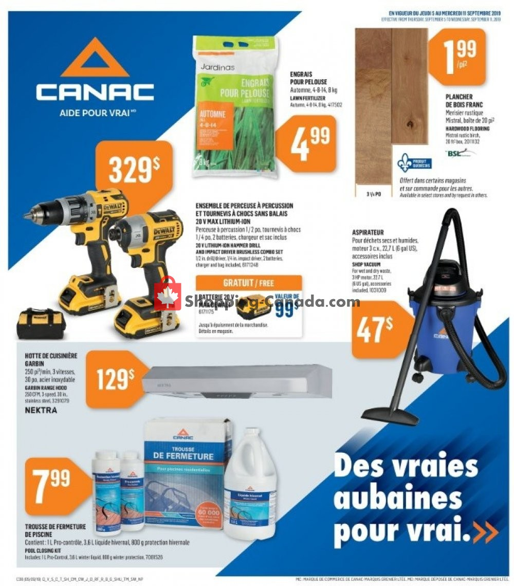 Flyer Canac Canada - from Thursday September 5, 2019 to Wednesday September 11, 2019