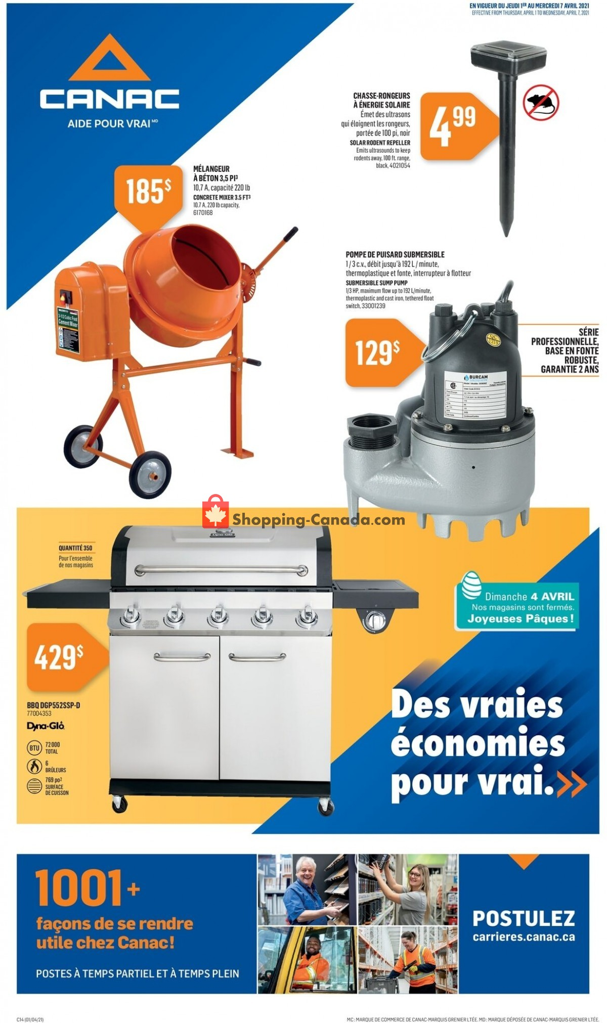 Flyer Canac Canada - from Thursday April 1, 2021 to Wednesday April 14, 2021