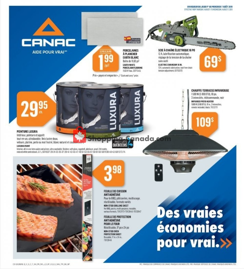 Flyer Canac Canada - from Thursday August 1, 2019 to Wednesday August 7, 2019