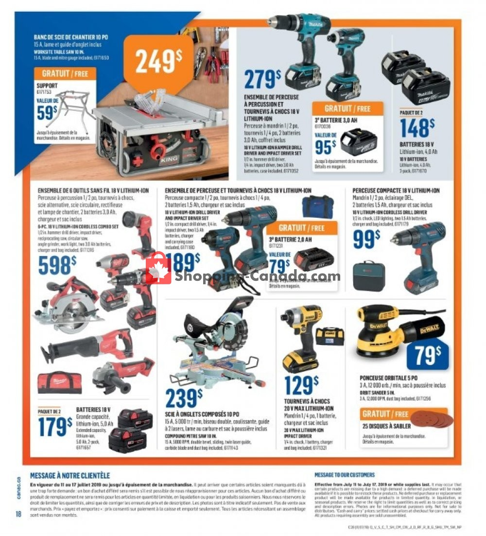 Flyer Canac Canada - from Thursday July 11, 2019 to Wednesday July 17, 2019