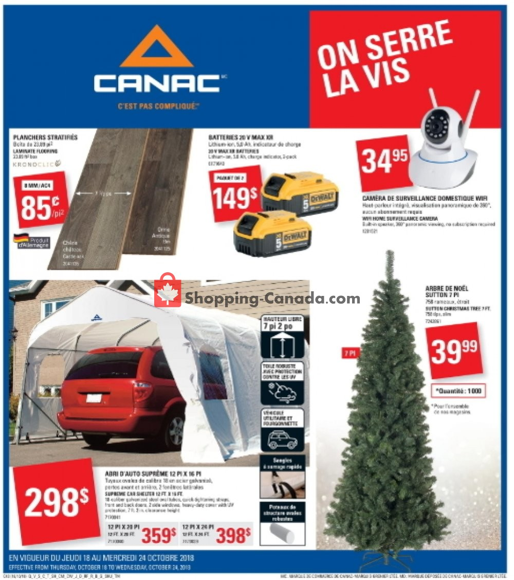 Flyer Canac Canada - from Thursday October 18, 2018 to Wednesday October 24, 2018