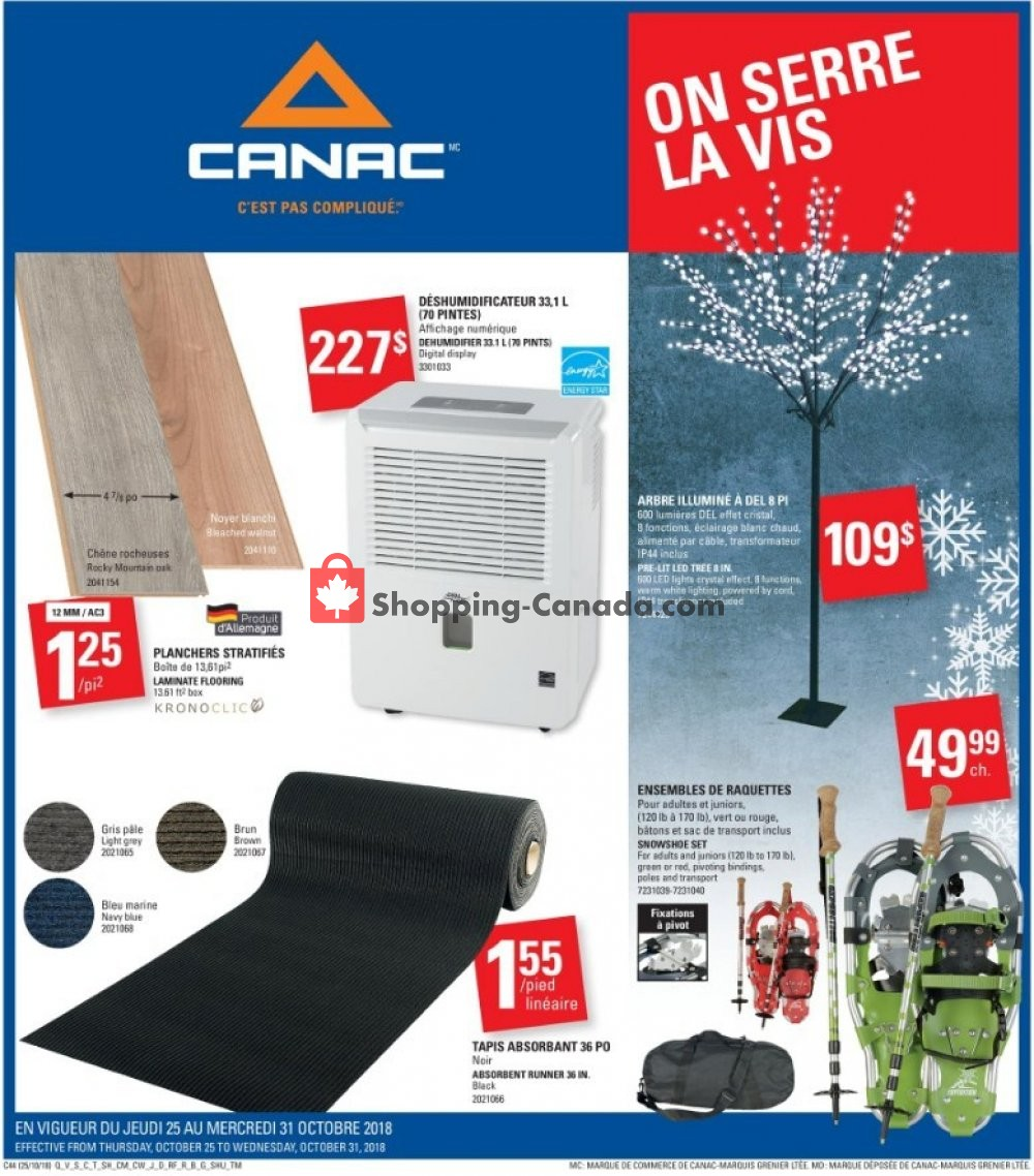 Flyer Canac Canada - from Thursday October 25, 2018 to Wednesday October 31, 2018