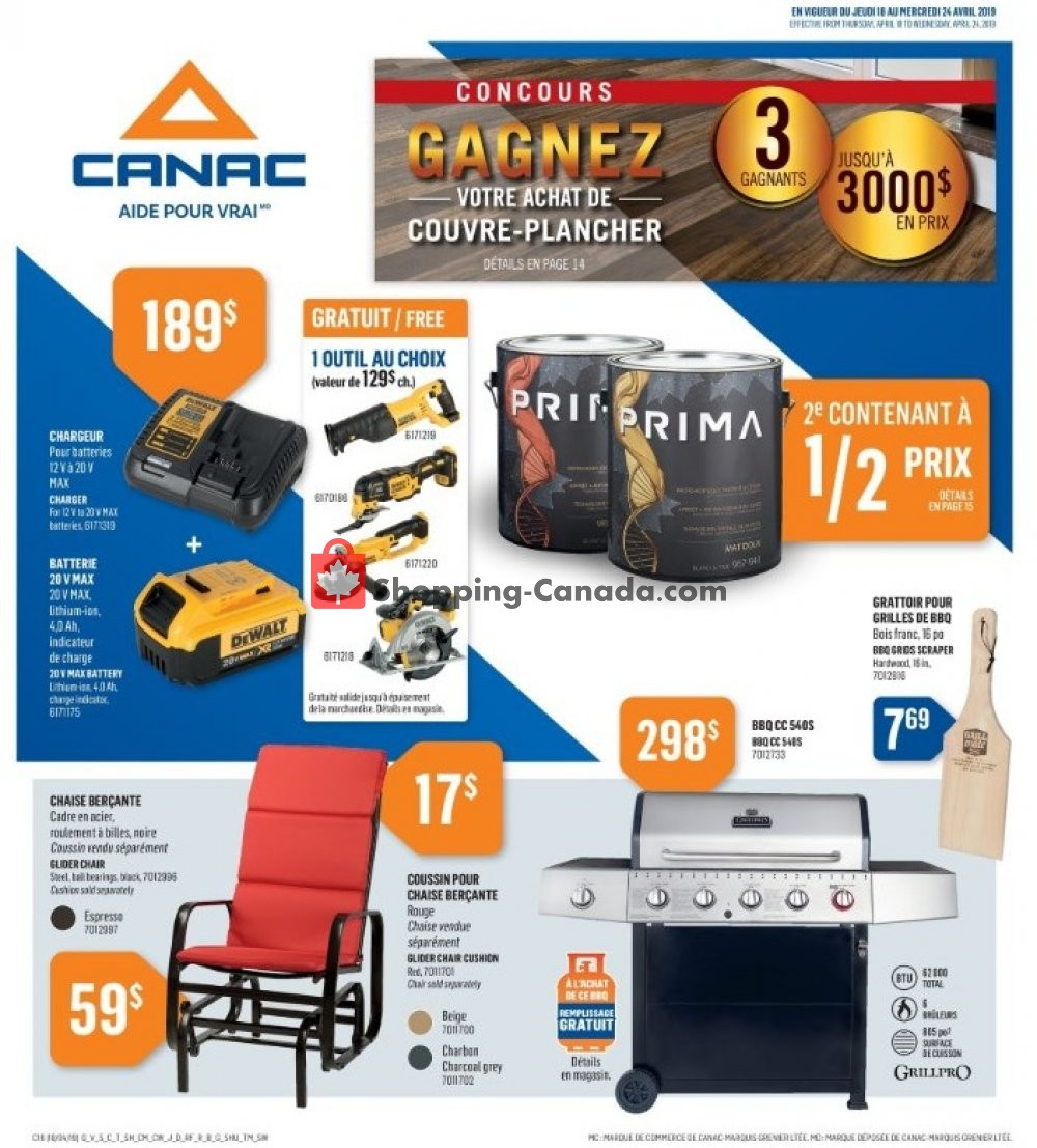Flyer Canac Canada - from Thursday April 18, 2019 to Wednesday April 24, 2019