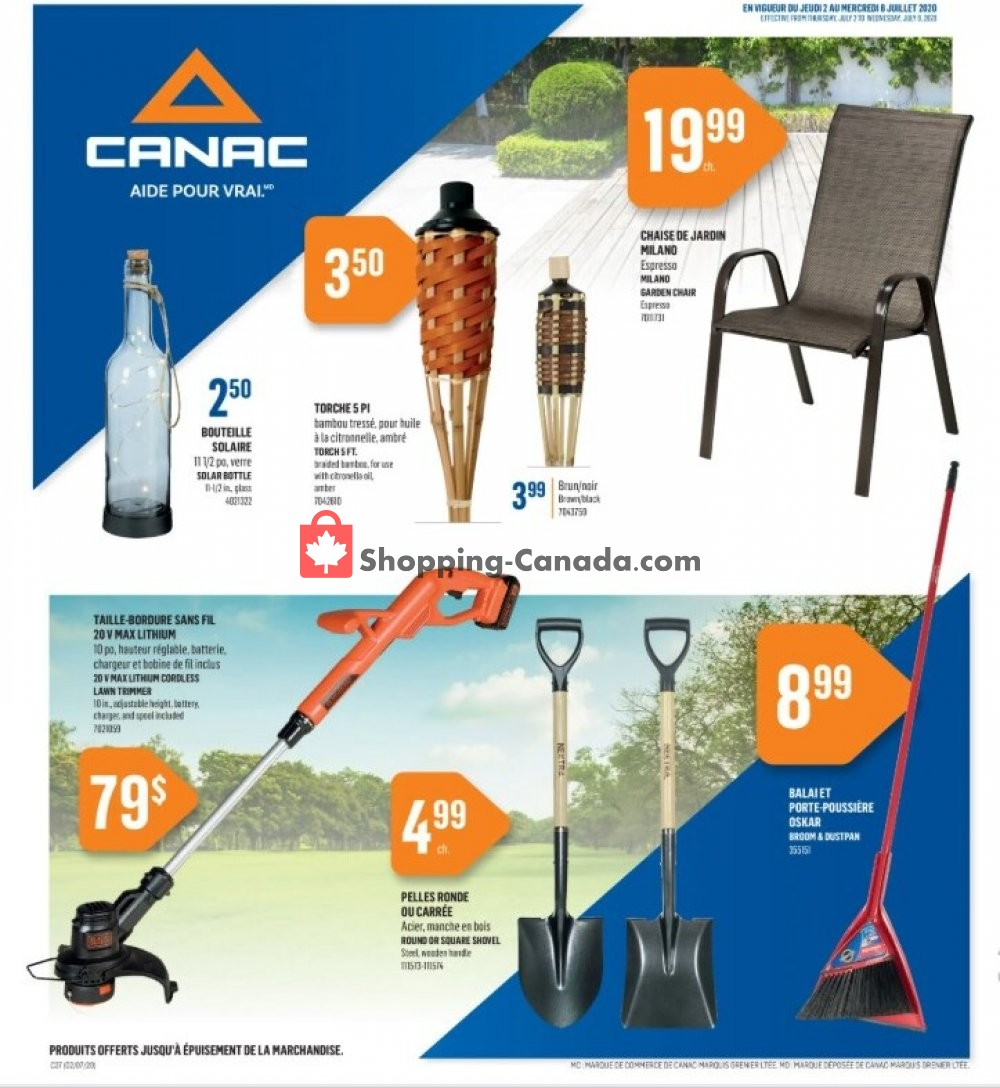 Flyer Canac Canada - from Thursday July 2, 2020 to Wednesday July 8, 2020