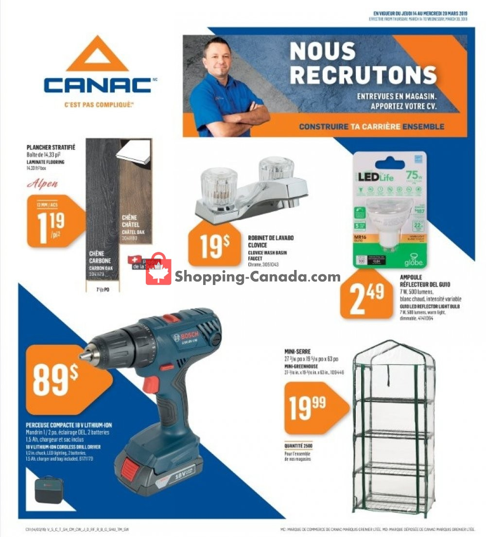Flyer Canac Canada - from Thursday March 14, 2019 to Wednesday March 20, 2019