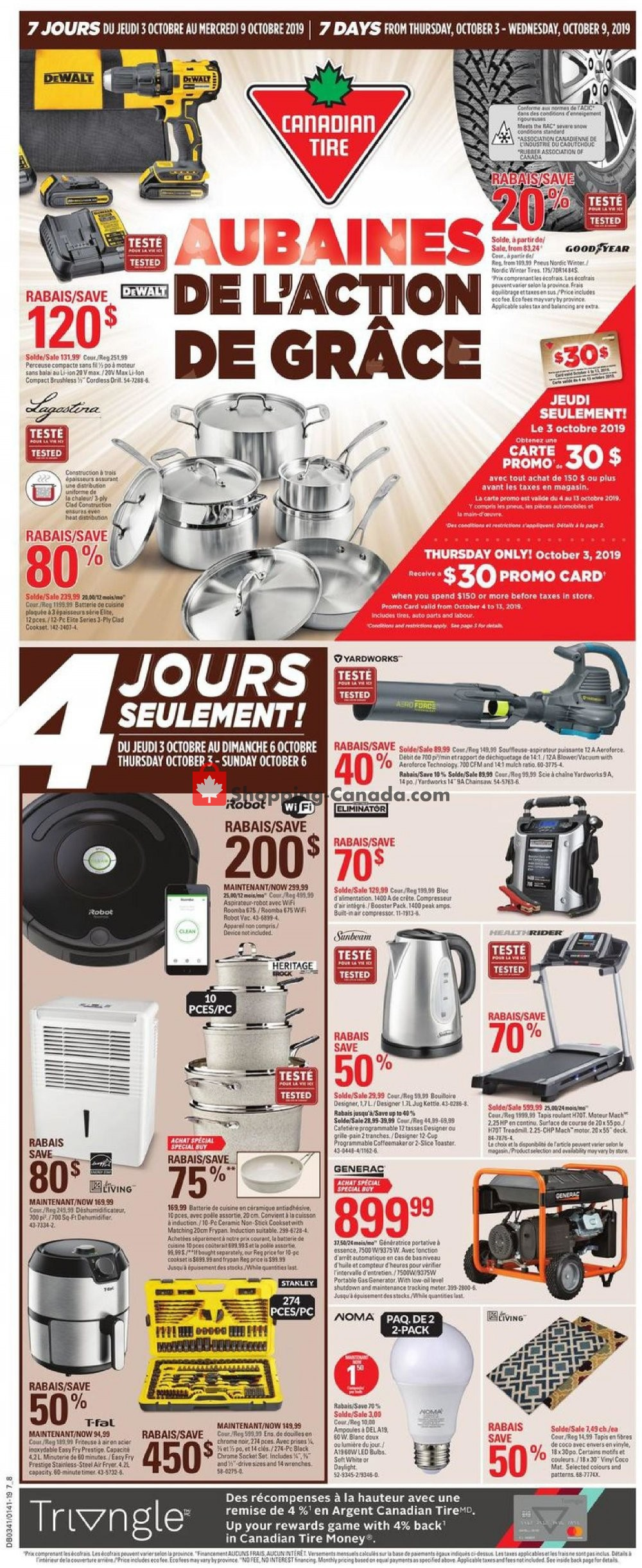 Flyer Canadian Tire Canada - from Thursday October 3, 2019 to Wednesday October 9, 2019