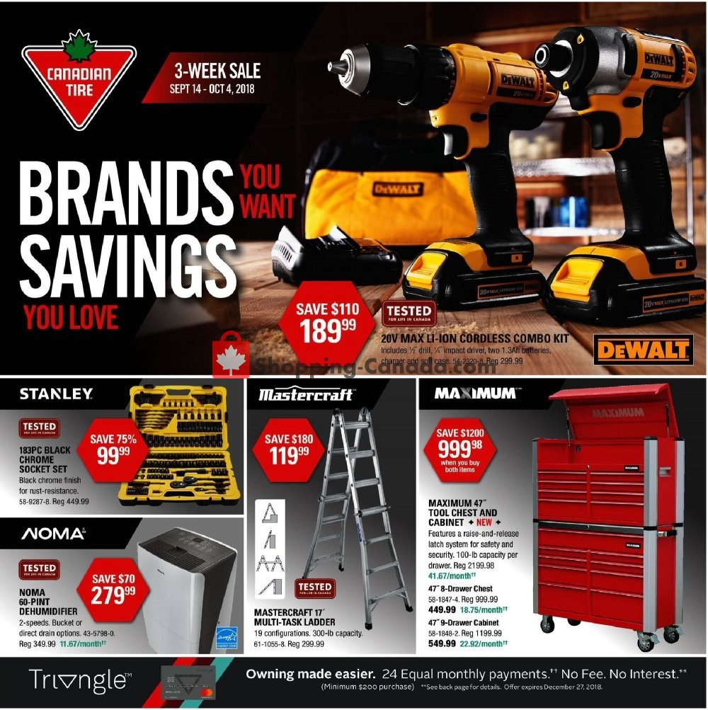 Flyer Canadian Tire Canada - from Friday September 14, 2018 to Thursday October 4, 2018