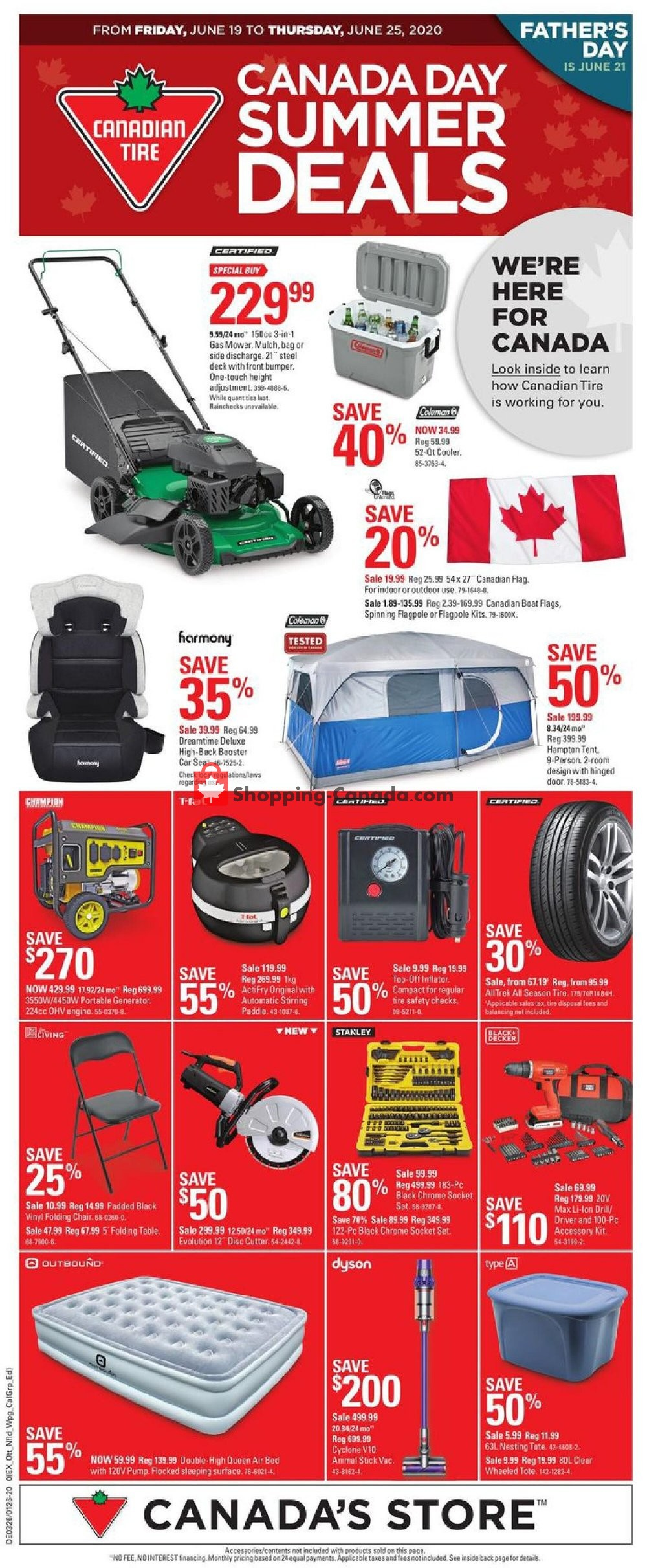 Canadian Tire Canada Flyer Canada Day Summer Deals On June 19 June 25 2020 Shopping Canada