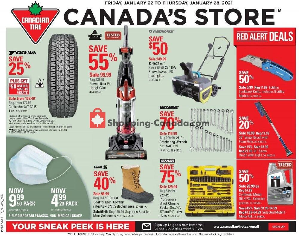 Flyer Canadian Tire Canada - from Friday January 22, 2021 to Thursday January 28, 2021