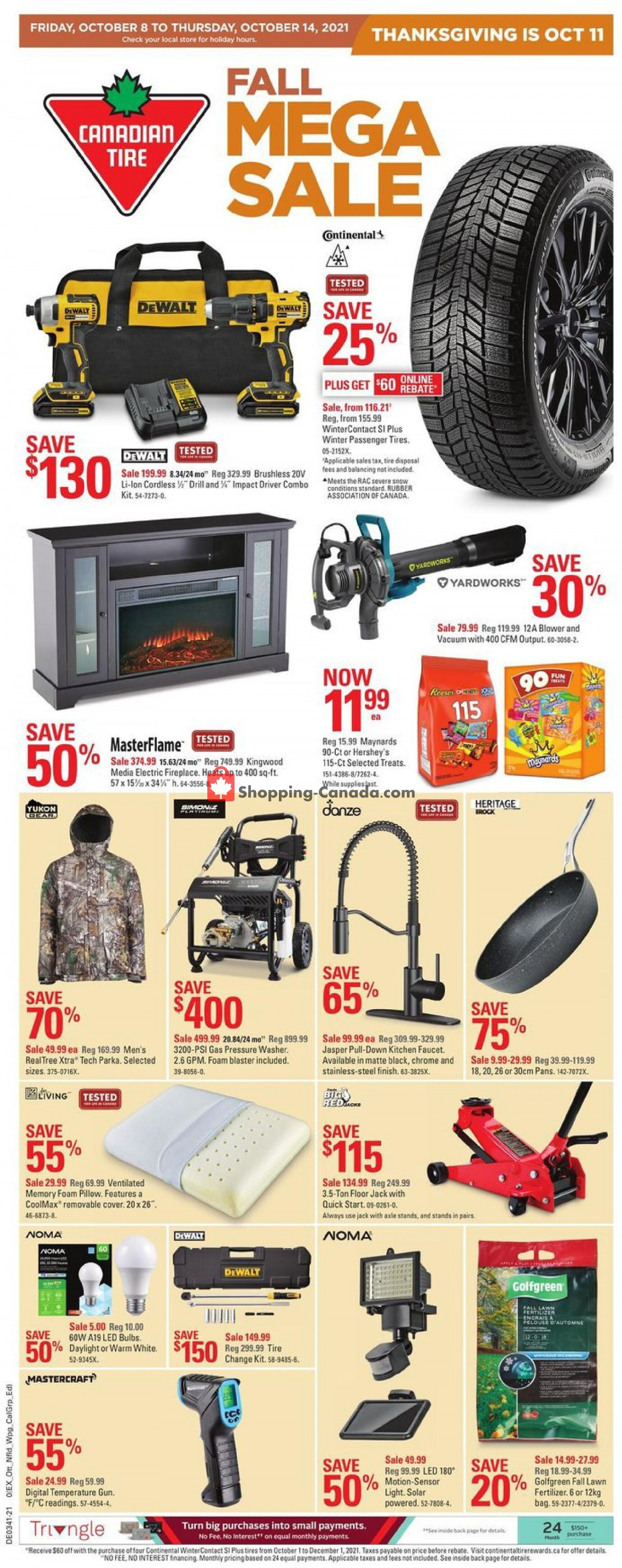 Flyer Canadian Tire Canada - from Friday October 8, 2021 to Thursday October 14, 2021