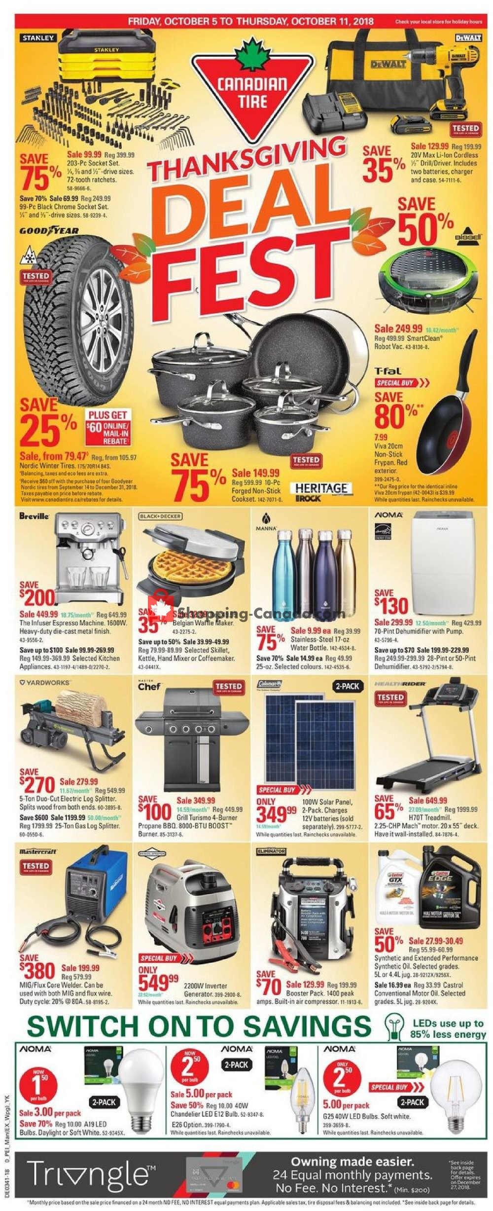 Flyer Canadian Tire Canada - from Friday October 5, 2018 to Thursday October 11, 2018