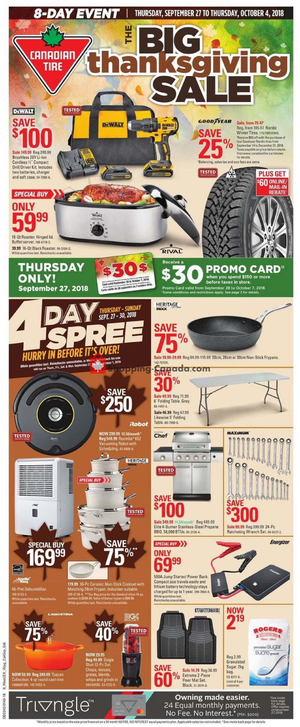 Flyer Canadian Tire Canada - from Thursday September 27, 2018 to Thursday October 4, 2018