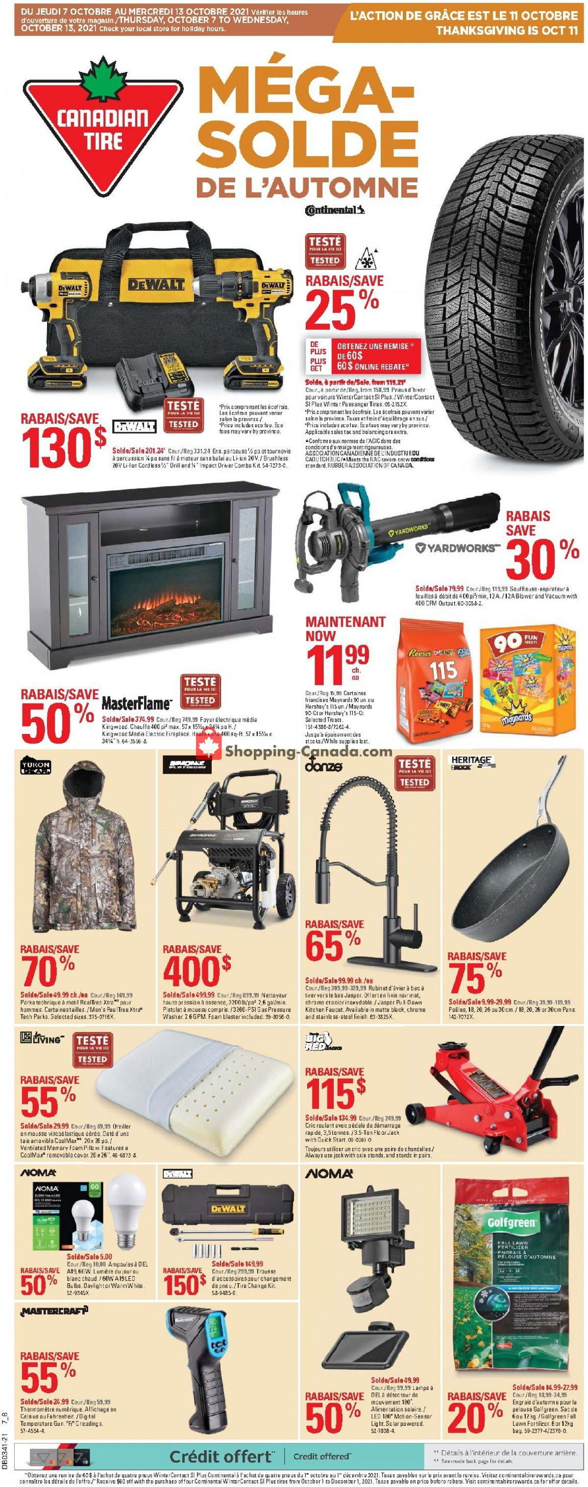 Flyer Canadian Tire Canada - from Thursday October 7, 2021 to Wednesday October 13, 2021