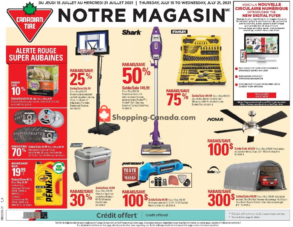 Flyer Canadian Tire Canada - from Thursday July 15, 2021 to Wednesday July 21, 2021