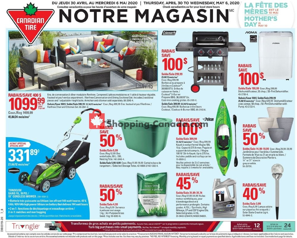 Flyer Canadian Tire Canada - from Thursday April 30, 2020 to Wednesday May 6, 2020