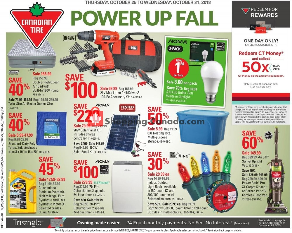 Flyer Canadian Tire Canada - from Thursday October 25, 2018 to Wednesday October 31, 2018