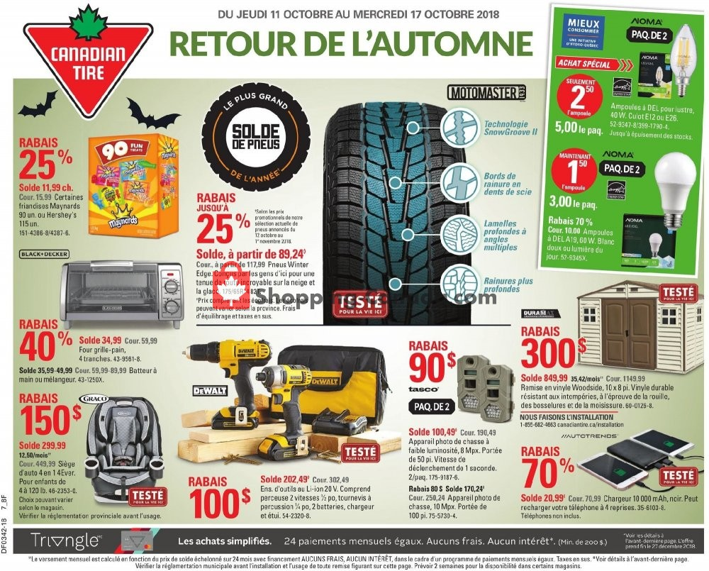 Flyer Canadian Tire Canada - from Thursday October 11, 2018 to Wednesday October 17, 2018