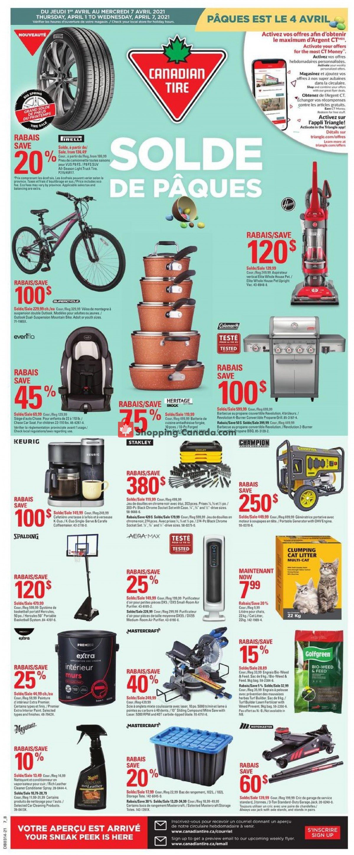 Flyer Canadian Tire Canada - from Thursday April 1, 2021 to Wednesday April 7, 2021