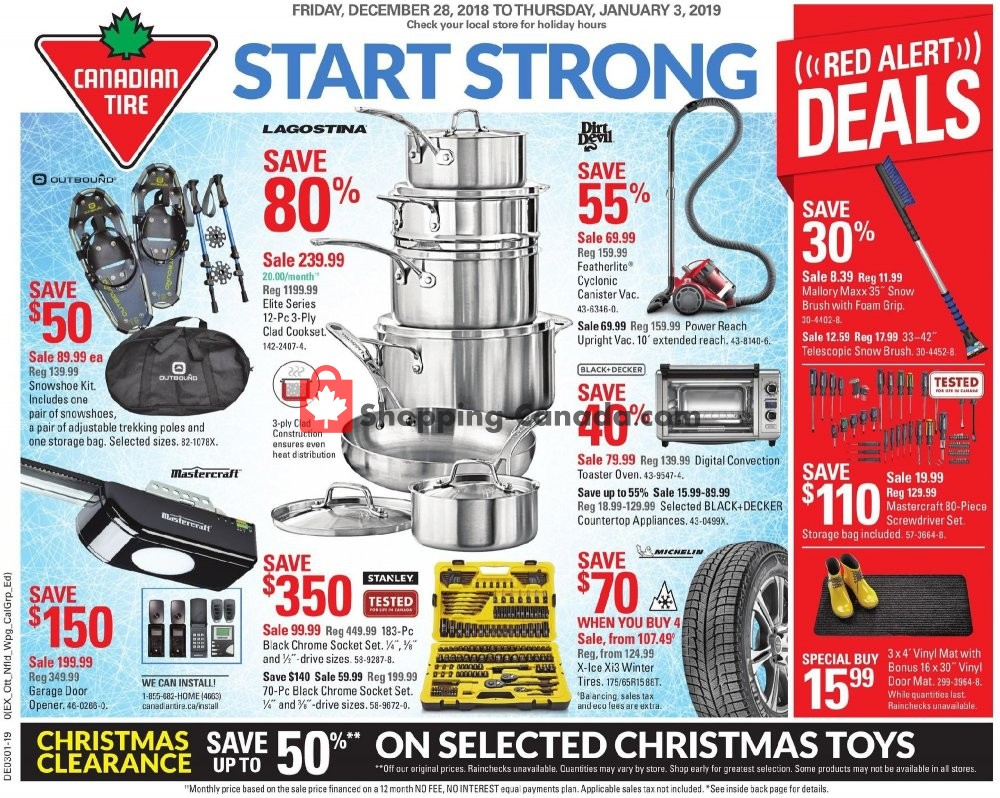 Flyer Canadian Tire Canada - from Friday December 28, 2018 to Thursday January 3, 2019