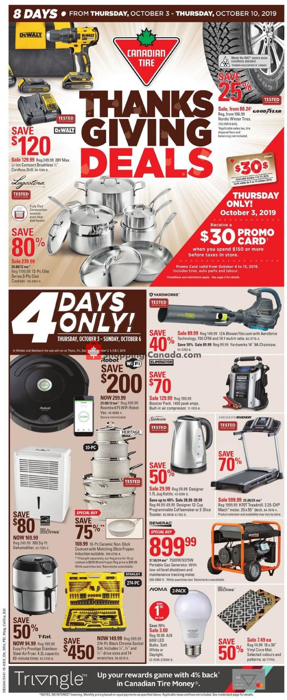 Flyer Canadian Tire Canada - from Friday October 4, 2019 to Thursday October 10, 2019