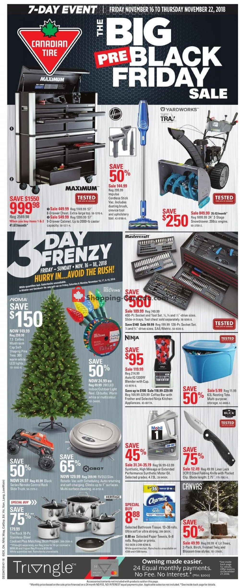 Flyer Canadian Tire Canada - from Friday November 16, 2018 to Thursday November 22, 2018