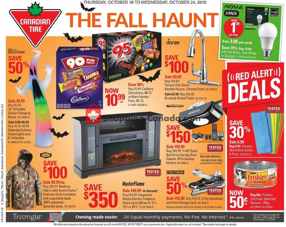 Flyer Canadian Tire Canada - from Thursday October 18, 2018 to Wednesday October 24, 2018
